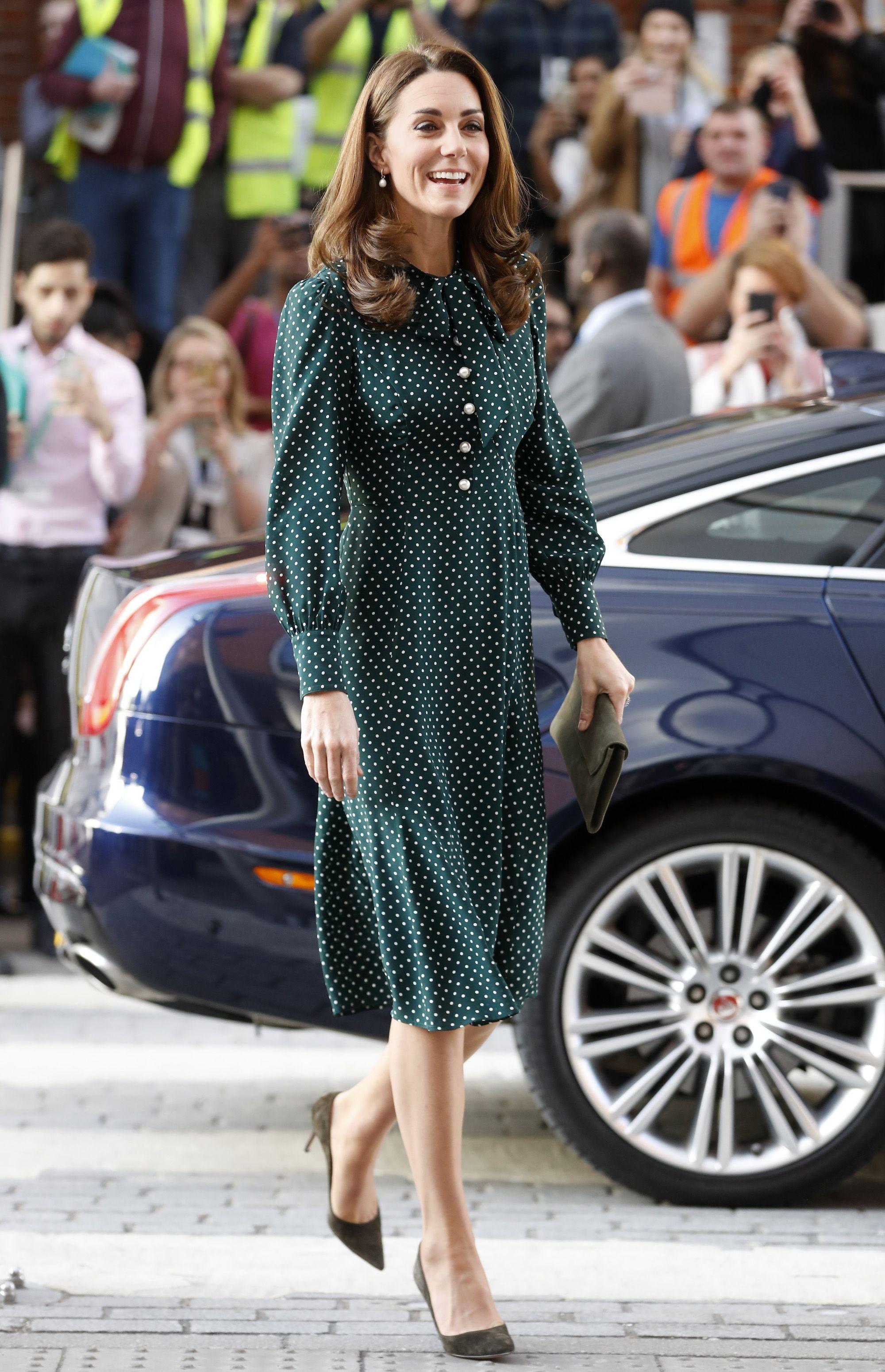 ba490da1aa86 Kate Middleton's Green Polkadot Dress from L.K.Bennett Looked so Festive at  Evelina London Children's Hospital
