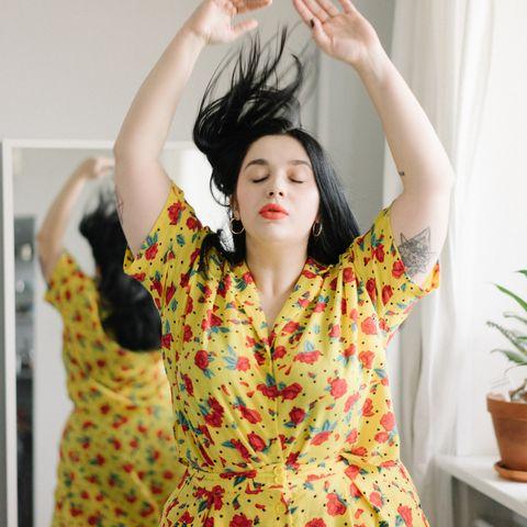 Hair, Yellow, Beauty, Skin, Dress, Black hair, Photography, Plant, Gesture, Happy,
