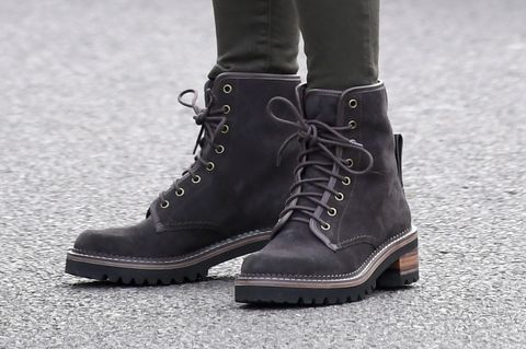Black Combat Boots With Floral Interior 11