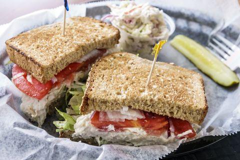 Dish, Food, Cuisine, Ingredient, Sandwich, Breakfast sandwich, Tuna fish sandwich, Finger food, Produce, Staple food,