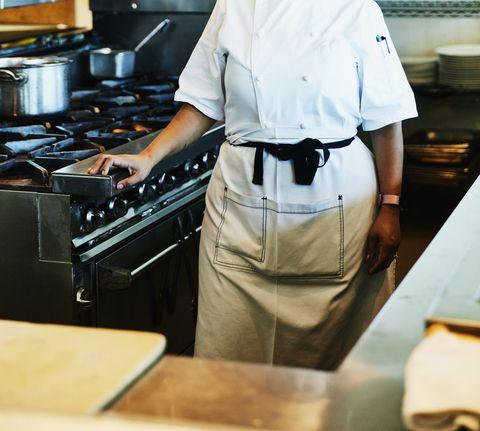 Portrait of smiling female chef in restaurant kitchen