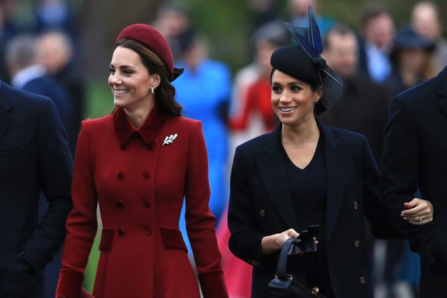 kings lynn, england   december 25 catherine, duchess of cambridge and meghan, duchess of sussex arrive to attend christmas day church service at church of st mary magdalene on the sandringham estate on december 25, 2018 in kings lynn, england photo by stephen pondgetty images