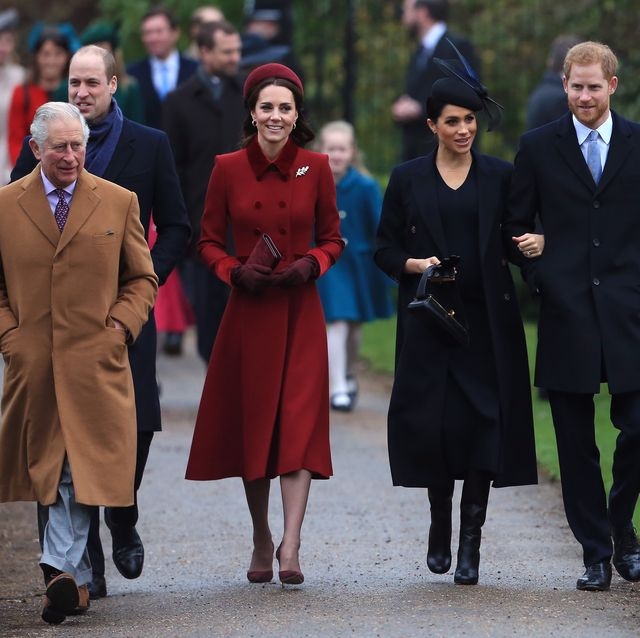 kings lynn, england   december 25 l r prince charles, prince of wales, prince william, duke of cambridge, catherine, duchess of cambridge, meghan, duchess of sussex and prince harry, duke of sussex arrive to attend christmas day church service at church of st mary magdalene on the sandringham estate on december 25, 2018 in kings lynn, england photo by stephen pondgetty images