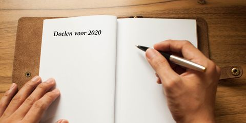 """A leather-bound note pad with a short phrase """"2019 Goals"""" written on it"""