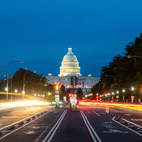 The United States Capitol building at night in Washington DC, USA.