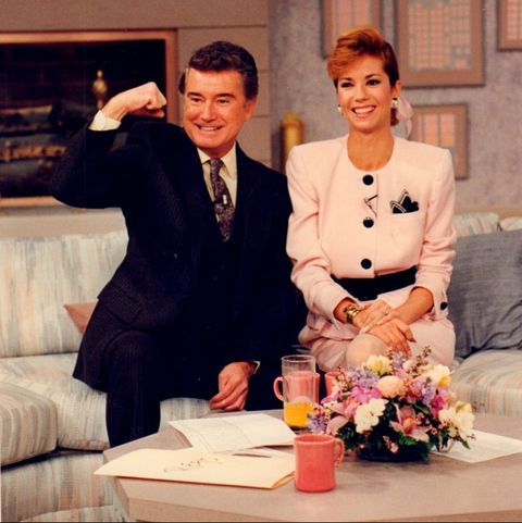 new york, ny regis philbin and kathie lee gifford on the set of live with regis and kathie lee on wabc television in new york on april 25, 1988 photo by j michael dombroskinewsday rm via getty images