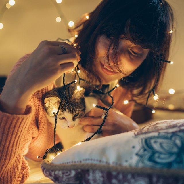 Woman, cat and christmas lights