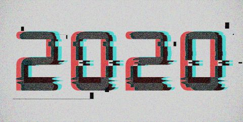 Number 2020 distorted, glitch effect. Background screen error graphics