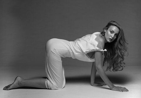 White, Black, Physical fitness, Beauty, Leg, Yoga, Black-and-white, Shoulder, Photo shoot, Arm,