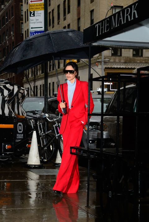 Red, Street fashion, Fashion, Outerwear, Suit, Street, Costume, Vehicle, Jacket,