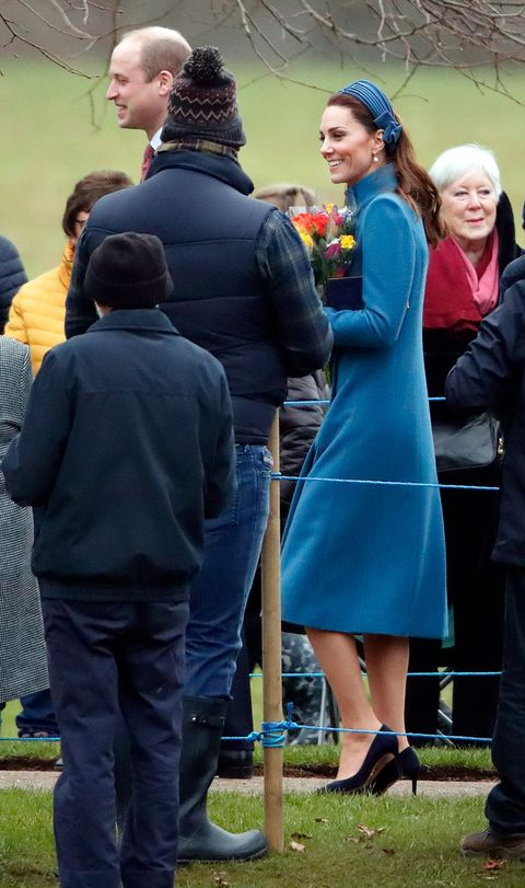 Kate Middleton Wore A Matching Blue Catherine Walker Coat And ... 4c6b2ba79