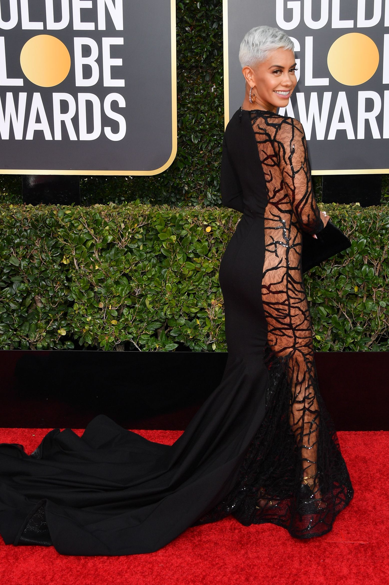 Sibley Scoles Scoles turned to the side for the cameras at the Golden Globes so she could show off that see-through vine design. The mermaid-style gown was one of the more daring options for the night.