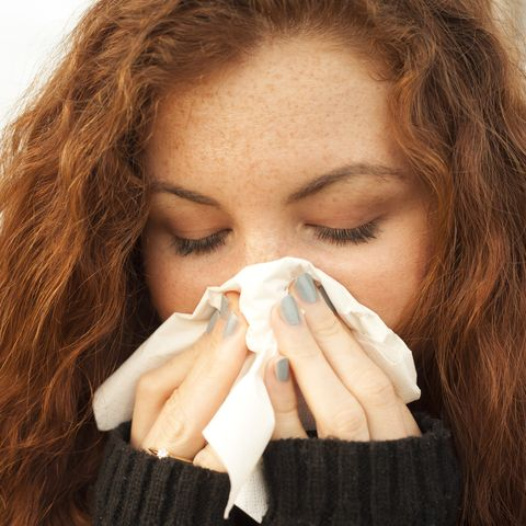 young woman with a blocked nose
