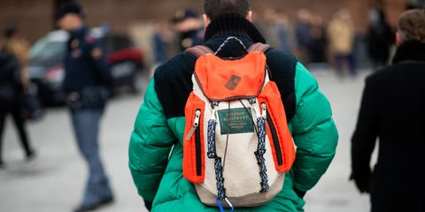Green, Winter, Jacket, Outerwear, Textile, Backpack, Street fashion, Travel,