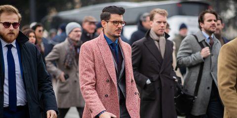 People, Street fashion, Fashion, Coat, Overcoat, Suit, Human, Event, Facial hair, White-collar worker,