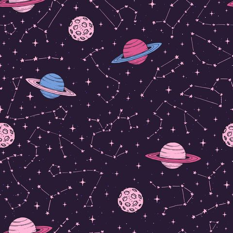 Hand drawn seamless pattern with zodiac constellations, planets and moons in pink pastel colors on the dark background. Cosmic backdrop.