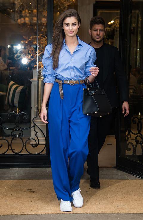 Cobalt blue, Clothing, Electric blue, Blue, Street fashion, Fashion, Denim, Jeans, Pantsuit, Waist,