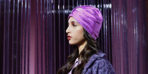 Purple, Clothing, Fashion, Beauty, Violet, Pink, Lip, Headgear, Textile, Fashion design,