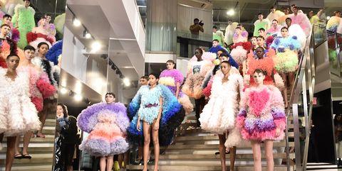 Pink, Fashion, Event, Dress, Fun, Fashion design, Costume, Performance, Fashion show,