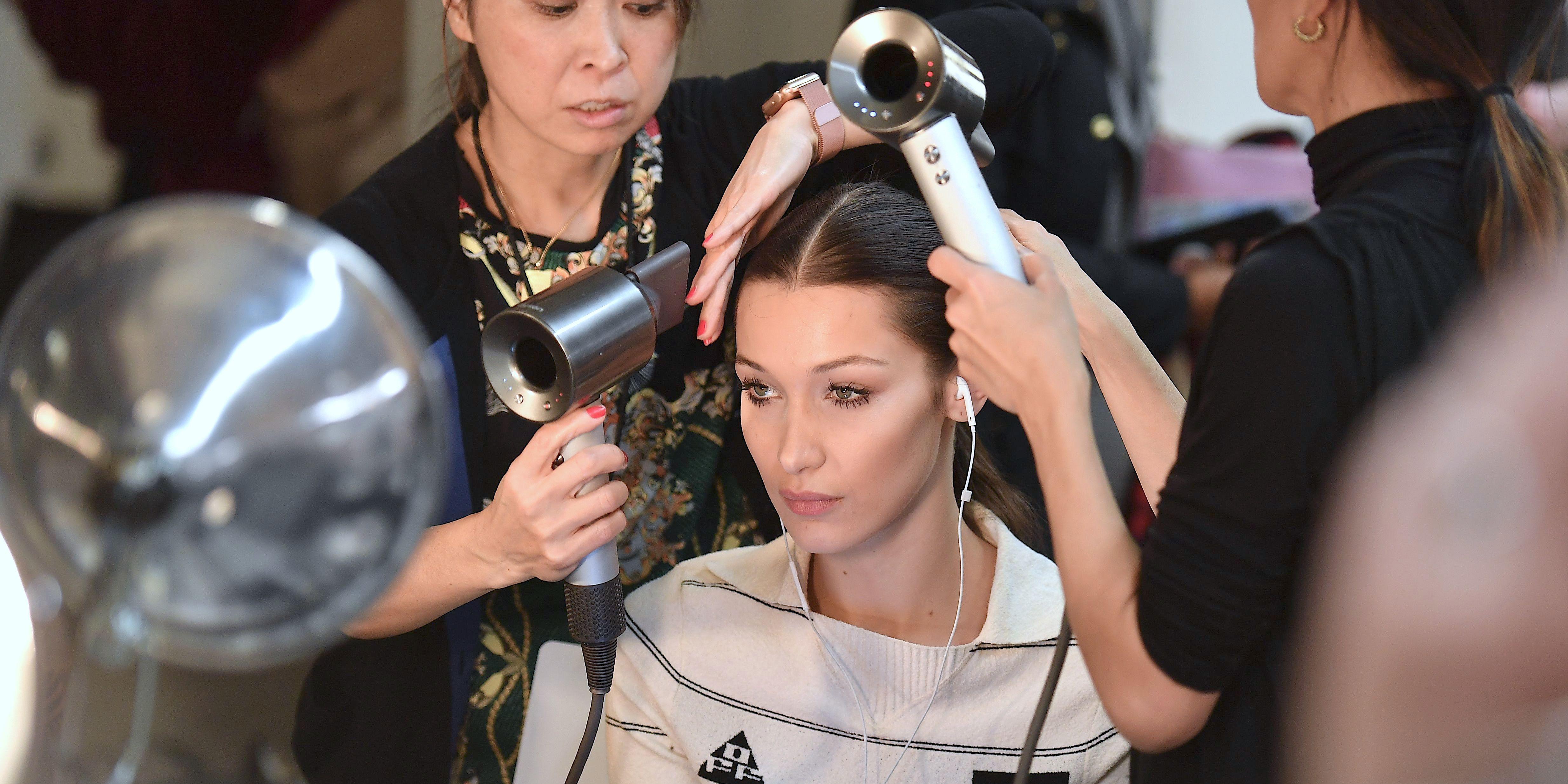 Bella Hadid backstage brandon maxwell New York Style Week show