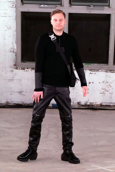 Standing, Fashion, Snapshot, Leather, Footwear, Jeans, Outerwear, Photography, Textile, Jacket,