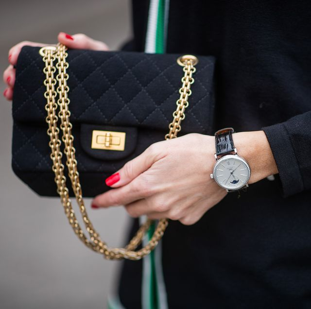 berlin, germany   january 16  alexandra lapp is seen wearing brax college knit cardigan, iwc watch, 255 jersey flap bag from chanel during the berlin fashion week autumnwinter 2019 on january 16, 2019 in berlin, germany photo by christian vieriggetty images
