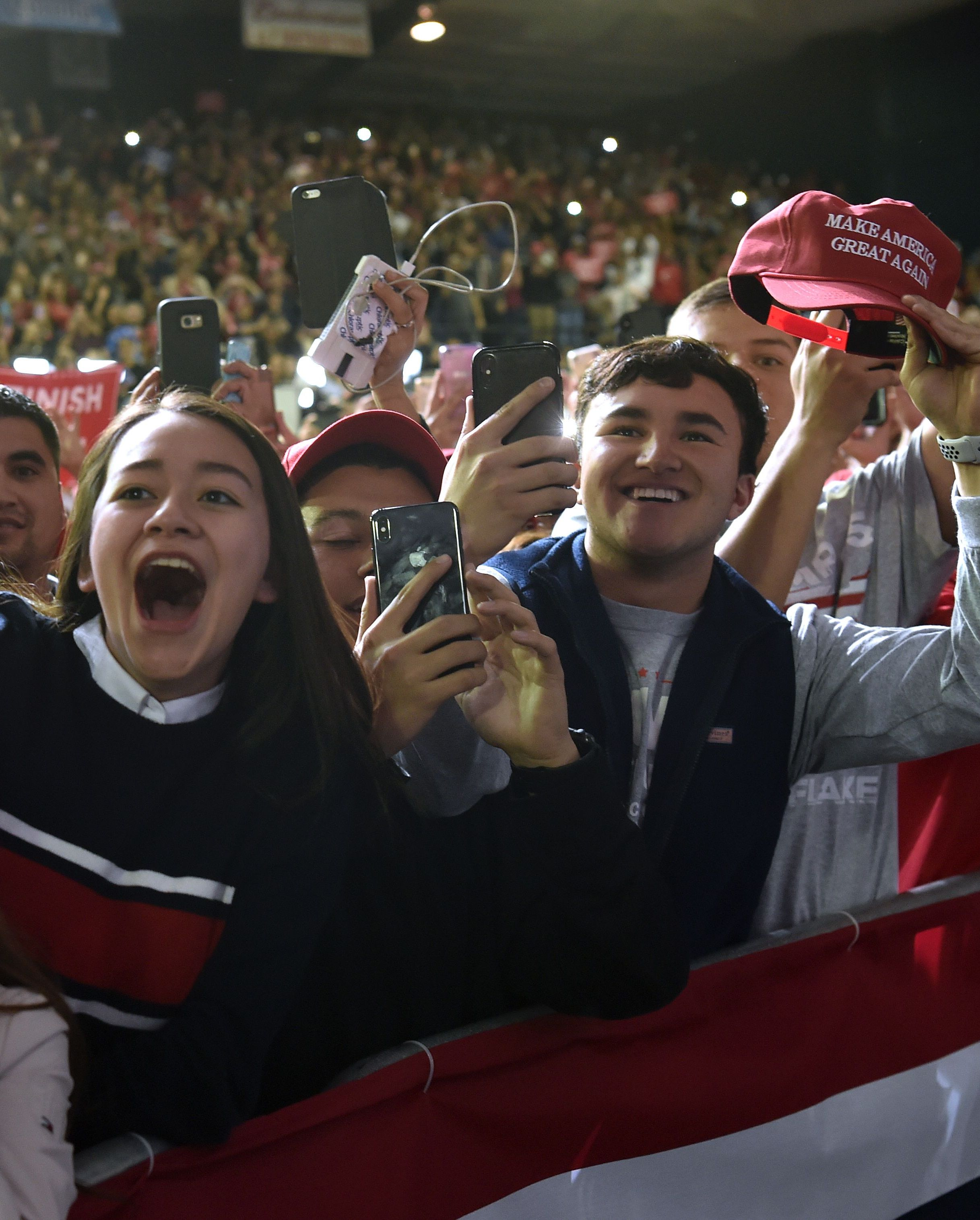 Young people cheer on President Trump in El Paso.