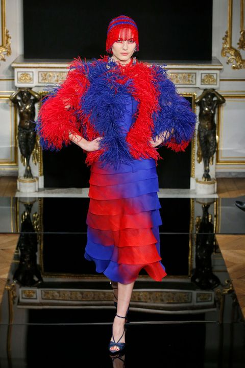 Blue, Cobalt blue, Fur, Fashion, Clothing, Red, Electric blue, Fur clothing, Fashion design, Haute couture,