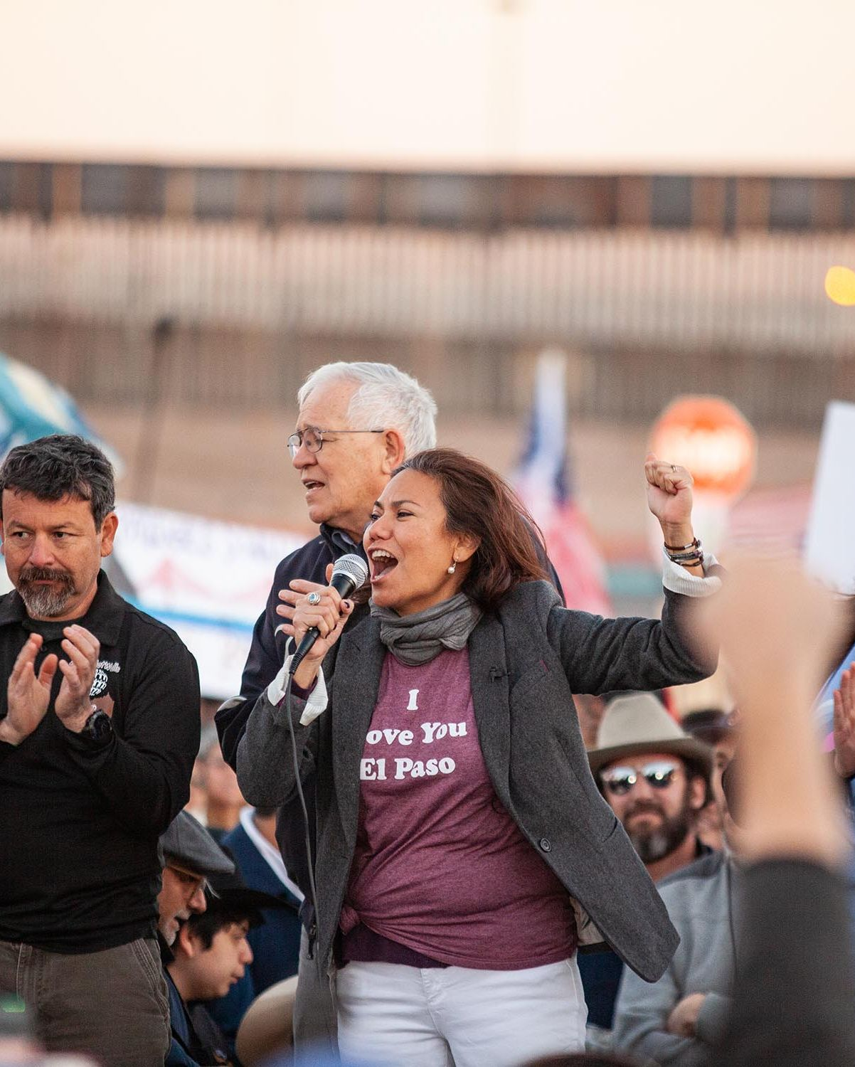 U.S. Rep. Veronica Escobar (D-TX) speaks during a rally before the March for Truth in protest of President Donald Trump's proposed border wall, February 11, 2019 in El Paso, Texas.