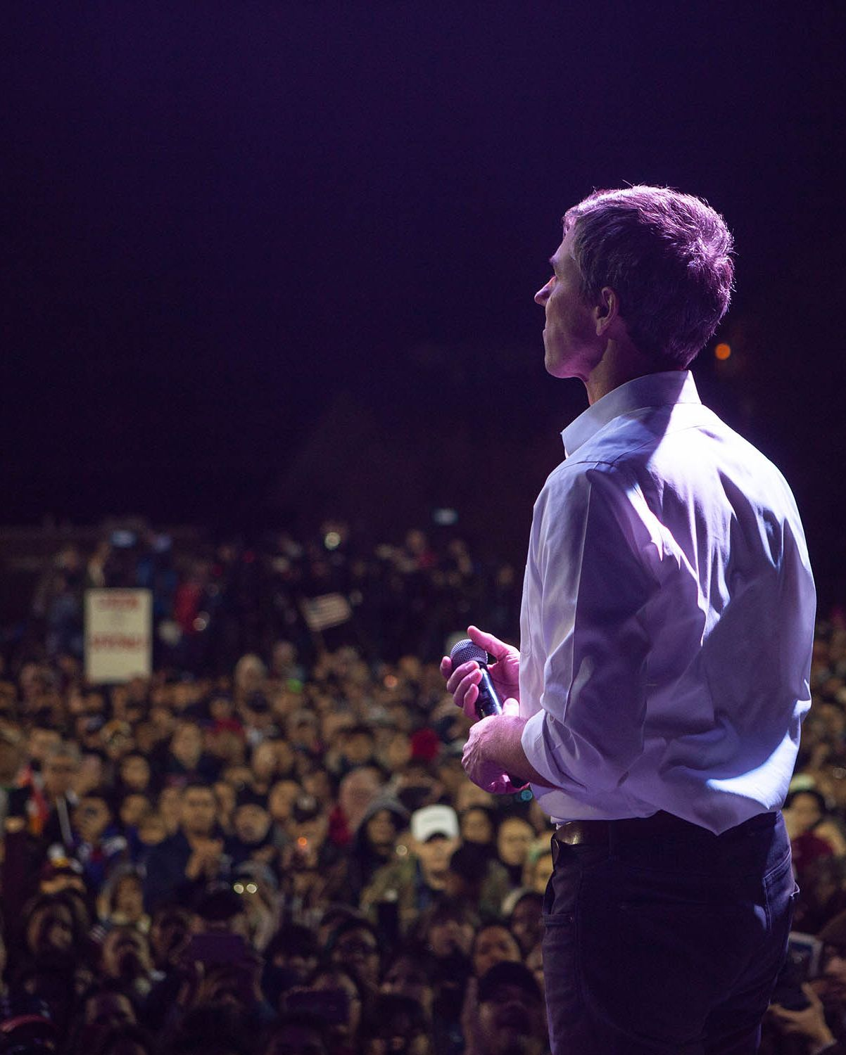 Beto O'Rourke speaks to thousands of people gathered to protest a U.S./Mexico border wall being pushed by President Donald Trump February 11, 2019 in El Paso, Texas.
