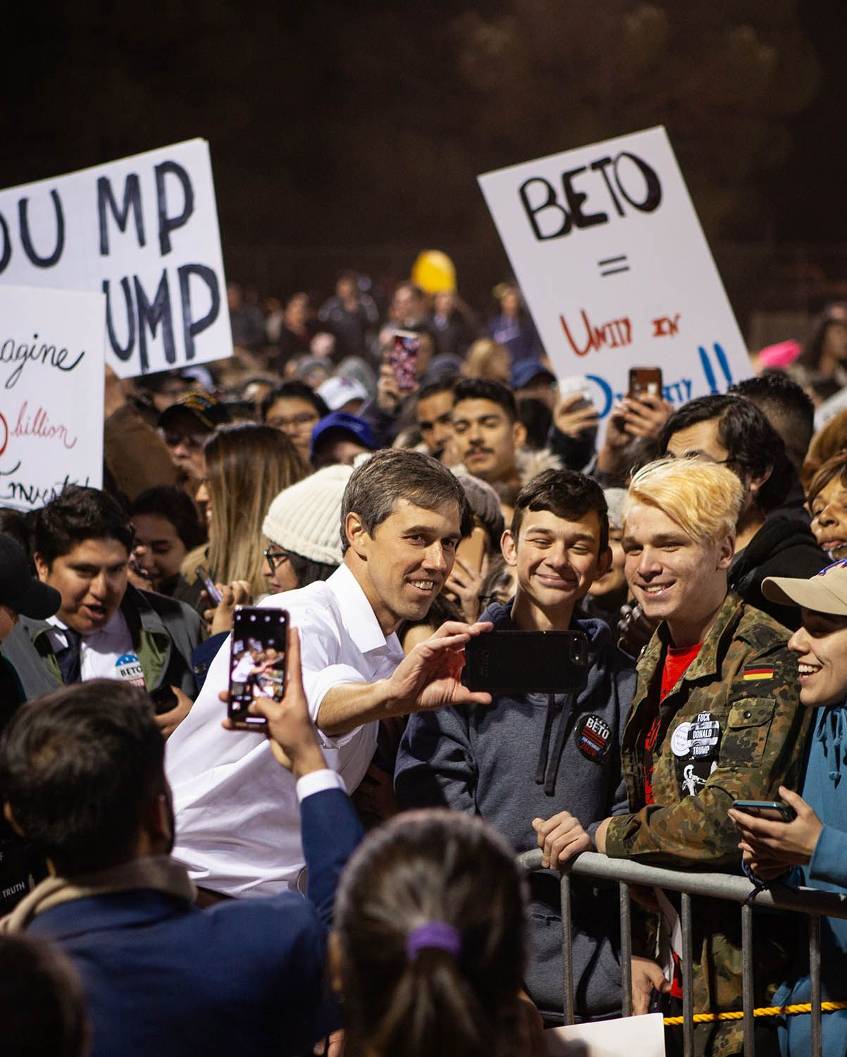Beto O'Rourke takes selfies with well-wishers at a rally to protest a U.S./Mexico border wall being pushed by President Donald Trump February 11, 2019 in El Paso, Texas.