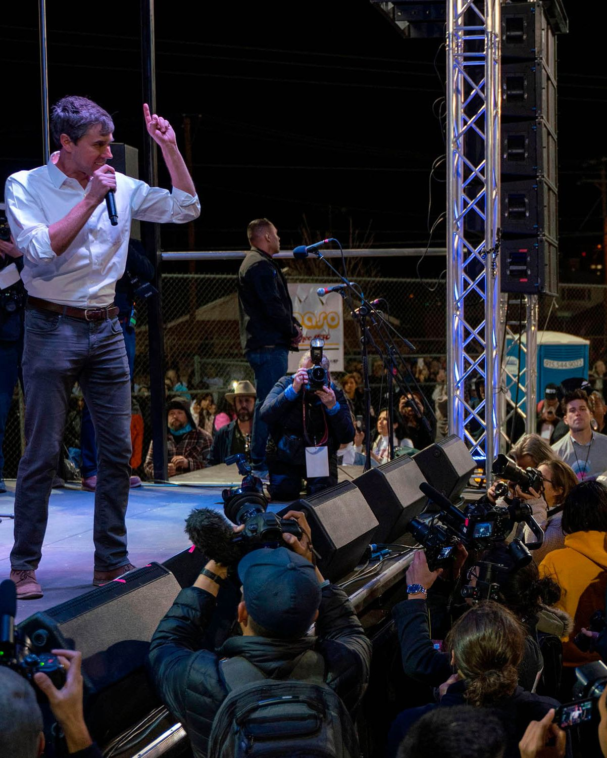 """Beto O'Rourke speaks to a crowd of supporters at Chalio Acosta Sports Center at the end of the anti-Trump """"March for Truth"""" in El Paso, Texas, on February 11, 2019."""