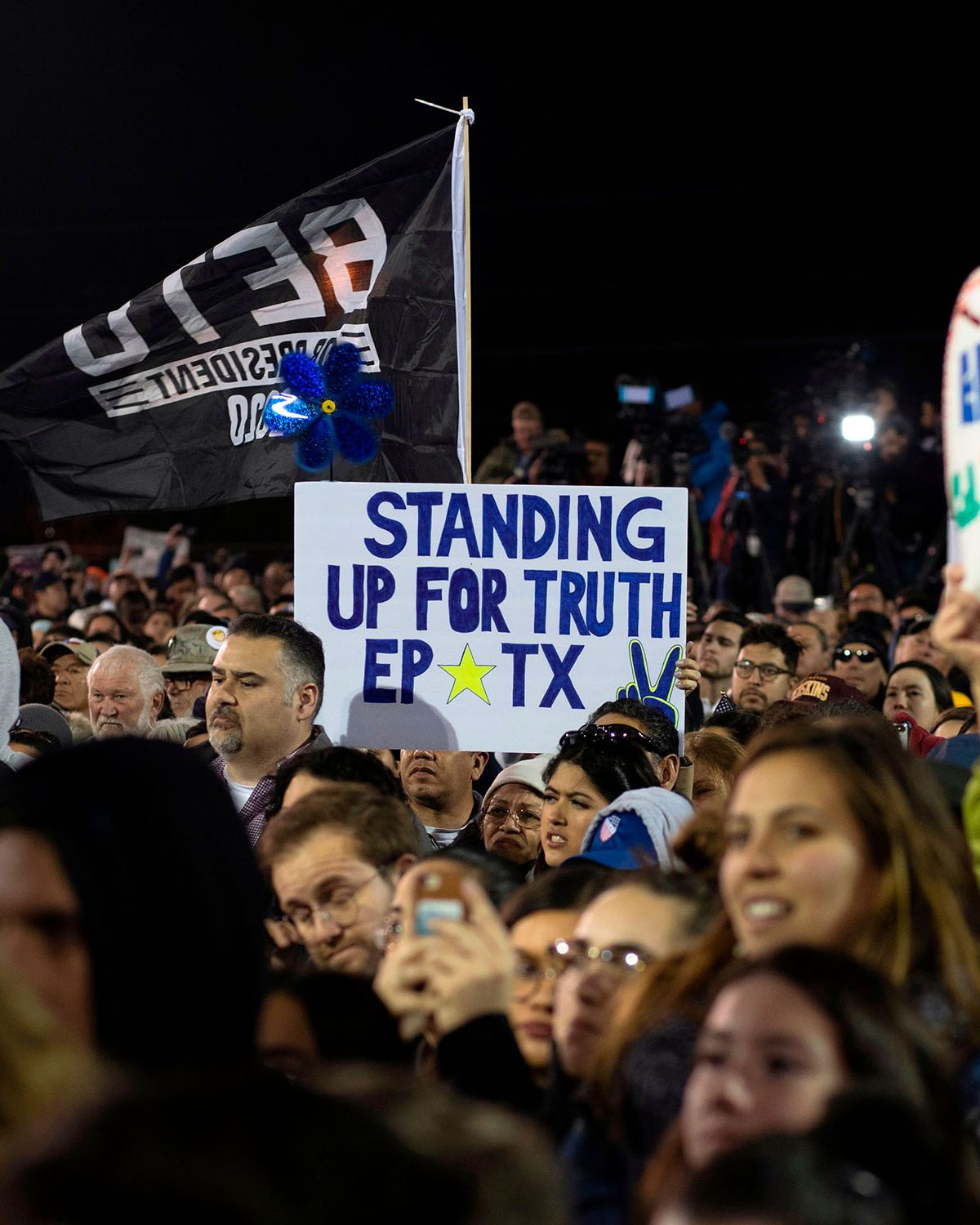 """Supporters listen to Beto O'Rourke at Chalio Acosta Sports Center at the end of the anti-Trump """"March for Truth"""" in El Paso, Texas, on February 11, 2019."""