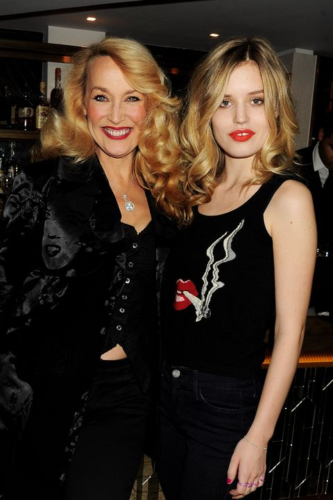 london, england   march 10  embargoed for publication in uk tabloid newspapers until 48 hours after create date and time mandatory credit photo by dave m benettgetty images required  jerry hall l and daughter georgia may jagger attend a dinner celebrating the launch of the hudson by georgia may jagger collection at the club at the ivy on march 10, 2011 in london, england  photo by dave m benettgetty images