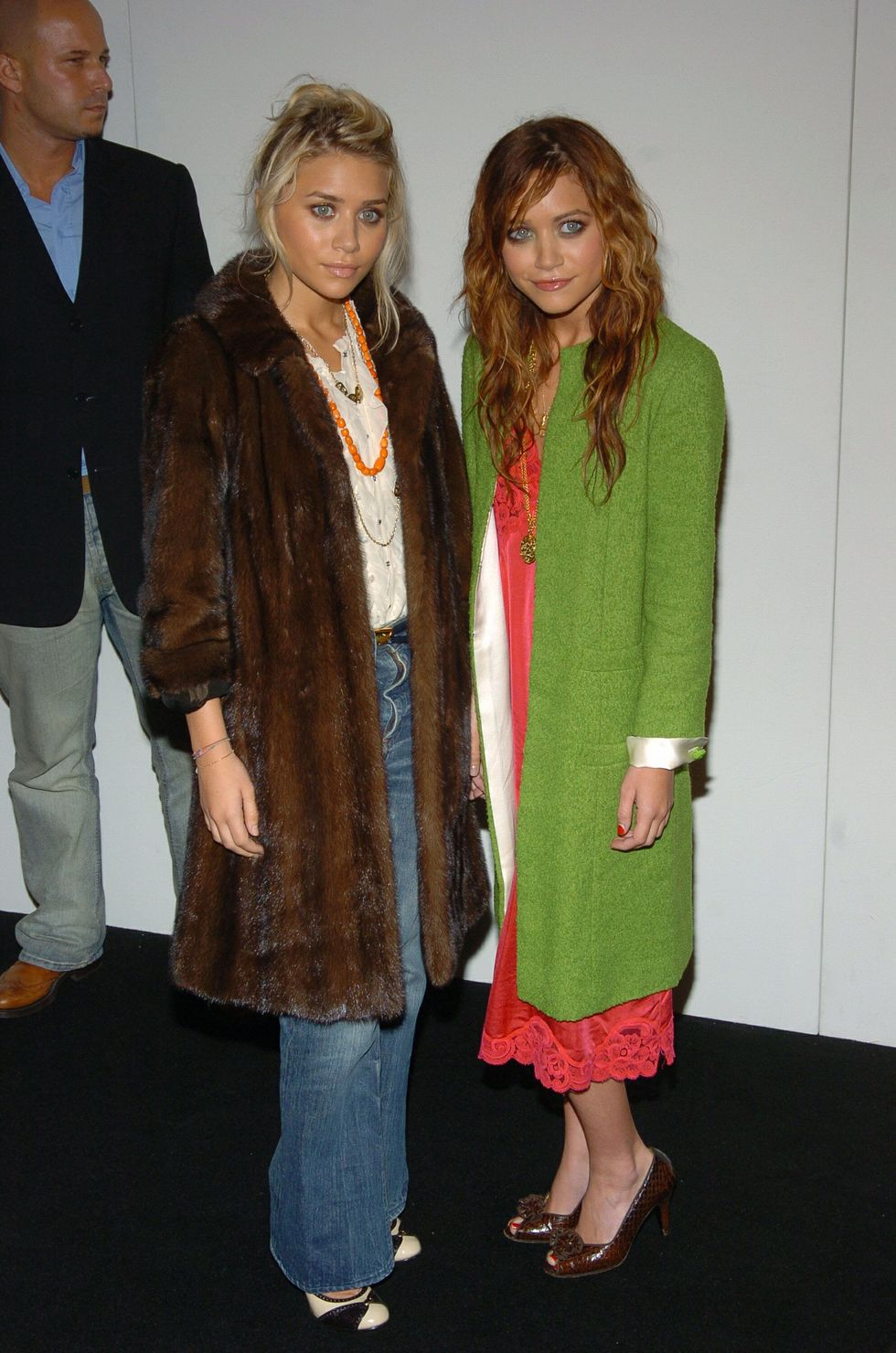 September 14, 2004 The twins dressed down for Marc Jacobs's fashion show.
