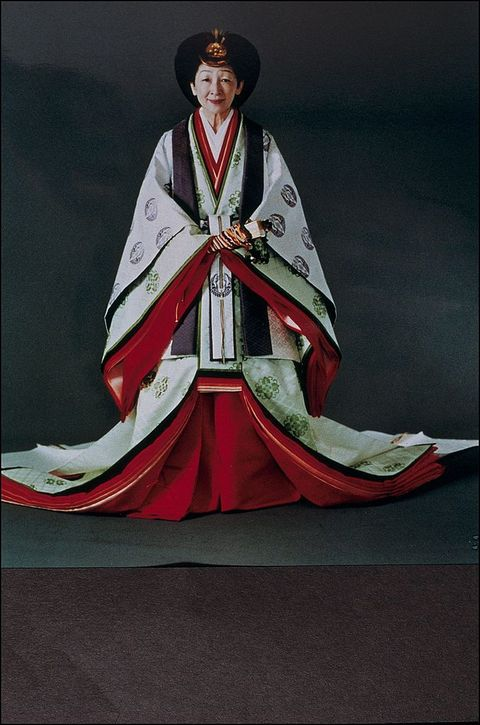 Emperor Akihito And Empress Michiko In Traditional Dress In Japan On November 08, 1990.