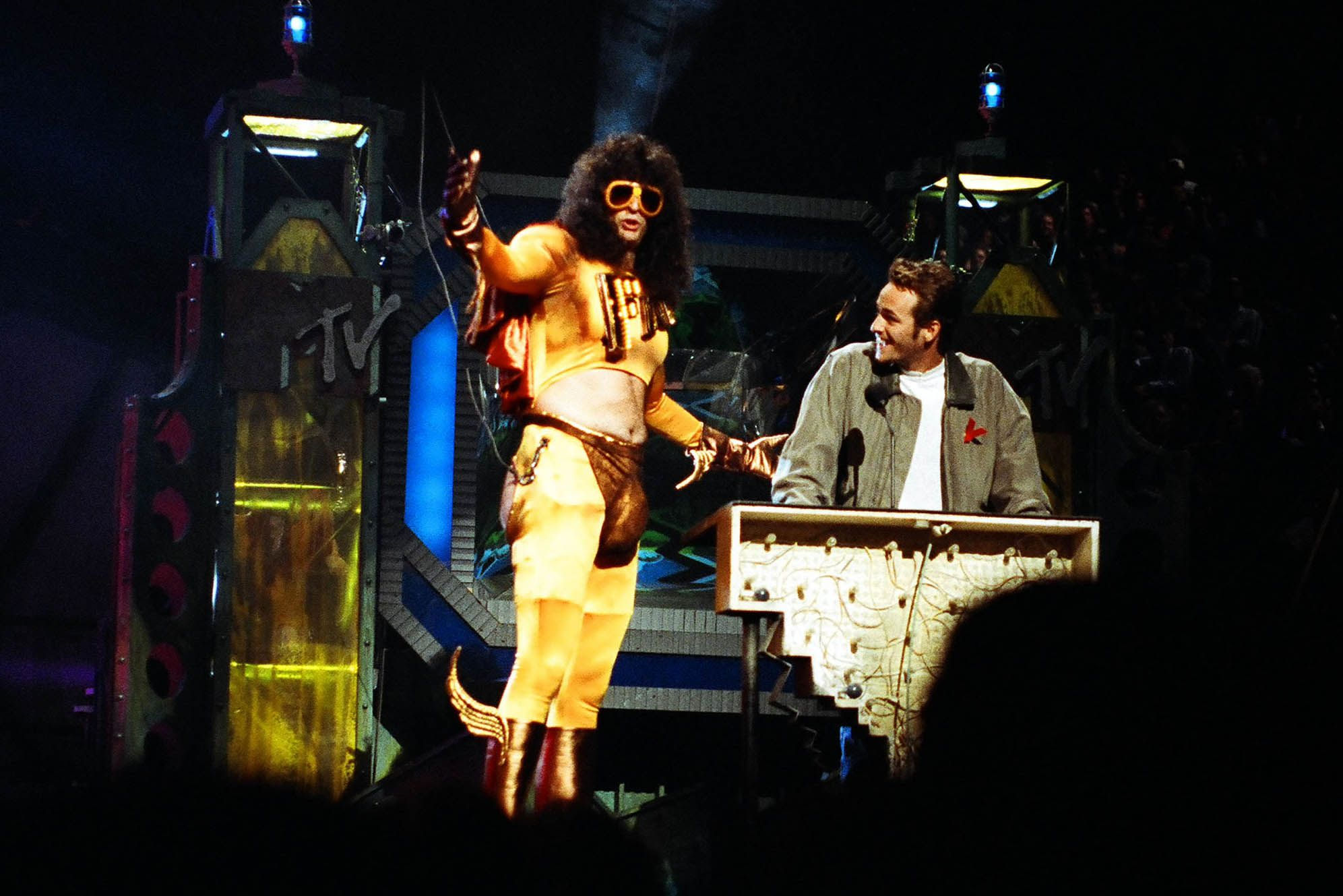 Howard Stern and Perry on stage during the 1992 MTV Video Music Awards in Los Angeles.