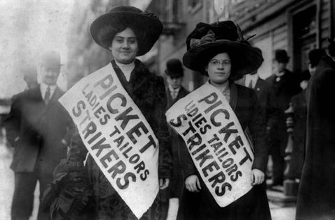 two women strikers on picket line during the uprising of the 20,000, garment workers strike, new york, february 1910 photo by apicgetty images
