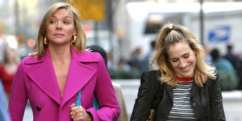 Hair, Coat, Outerwear, Street fashion, Magenta, Jacket, Blazer, Fashion, Bag, Blond,