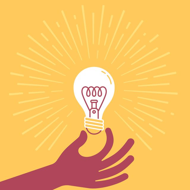 hand holding a light bulb thought, intelligence, brainstorming and invention concept illustration