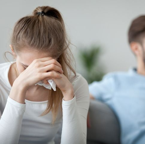 depressed frustrated millennial woman feeling offended and sad after fight with stubborn selfish husband, unhappy young wife tired of bad relationships, worried about marriage problems concept