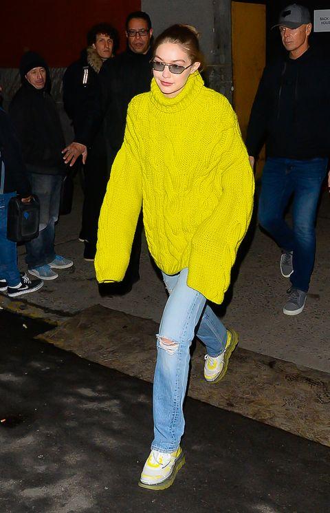 Yellow, Outerwear, Footwear, Jeans, Fun, Electric blue, Shoe, Denim, Trousers,