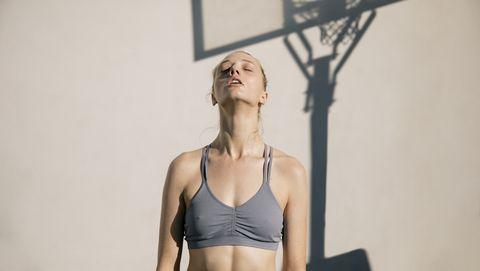 woman on basketball court