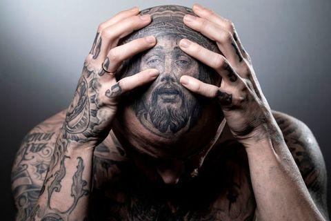 Hand, Tattoo, Skin, Finger, Arm, Human, Cool, Facial hair, Mouth, Flesh,