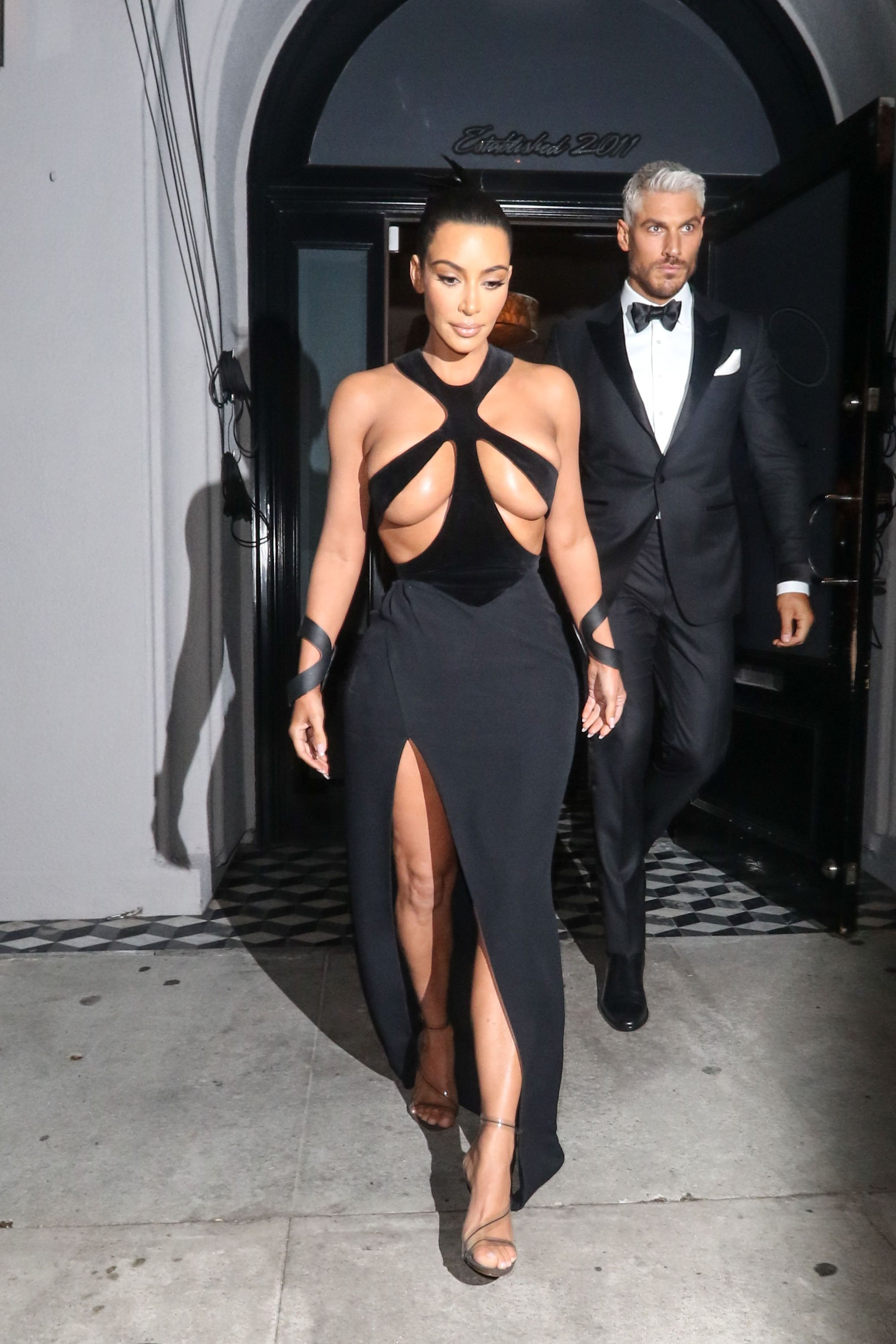 Kim Kardashian If the reality star was going for a bondage look, she mastered it. Kim wore this cutout Thierry Mugler haute couture dress from the spring/summer 1998 collection while attending the fifth annual Hollywood Beauty Awards on February 17.