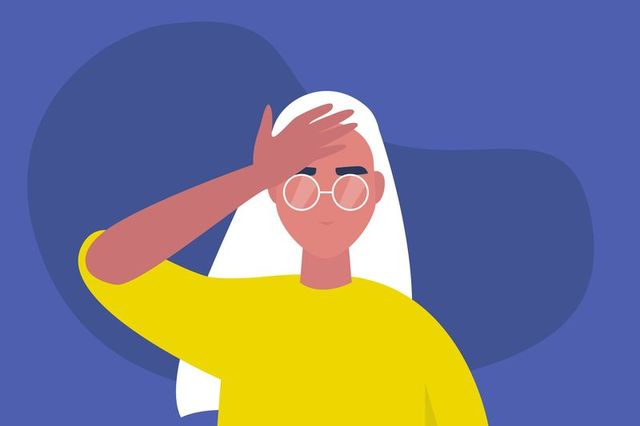 facepalm gesture problem trouble young female character with a hand palm on a forehead conceptual flat editable vector illustration, clip art