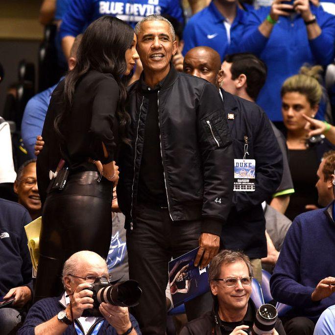 Barack Obama Flexed a '44' Black Bomber Jacket at Duke-UNC Last Night