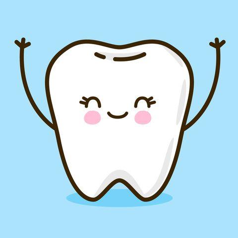 Set of cute little teeth on blue