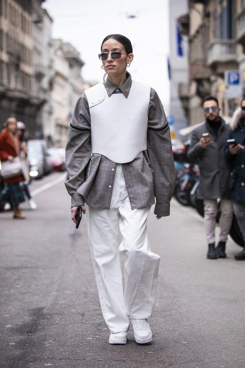 White, Street fashion, Fashion, Photograph, Clothing, Snapshot, Suit, Human, Street, Footwear,