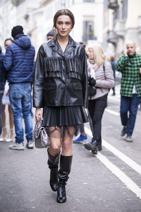 Photograph, Street fashion, Fashion, Clothing, Snapshot, Knee, Footwear, Street, Standing, Outerwear,